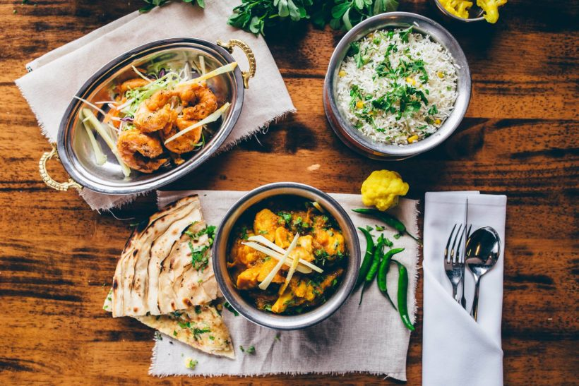 Table spread taken from one of the Merchant City Indian restaurants.