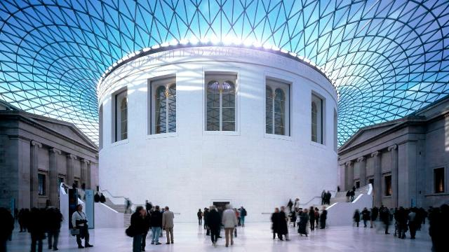View of the glass ceiling and white walls in the British Museum