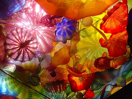 schools summer art exhibition colourful glass art