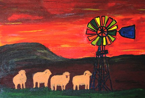 painting schools summer art exhibition sheep and windmill colourful